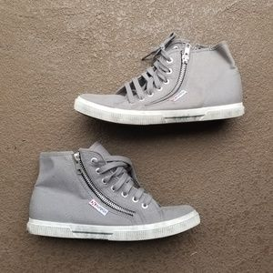 Superga Gray High Top Double Zip Shoes